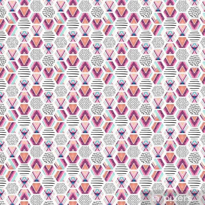 Zelfklevend behang, op maat gemaakt Waterverf zeshoek naadloze patroon met geometrische sierelementen - Grafische Bronnen