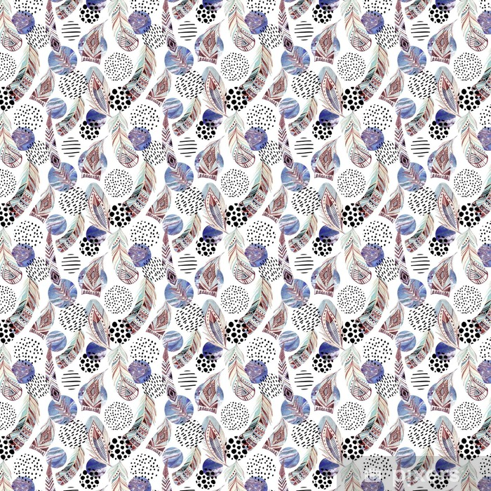 Selbstklebende Tapete Aquarell Stammes-Federn nahtlose Muster mit abstrakten Marmor und Grunge-Formen - Grafische Elemente