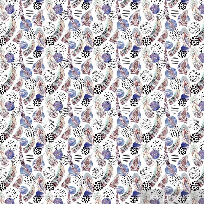 Zelfklevend behang, op maat gemaakt Aquarel tribal veren naadloze patroon met abstracte marmer en grunge vormen - Grafische Bronnen
