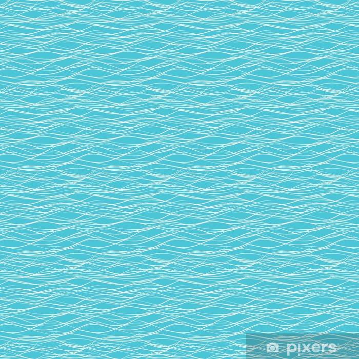 Zelfklevend behang, op maat gemaakt Naadloze abstracte zee golven vector patroon. - Grafische Bronnen