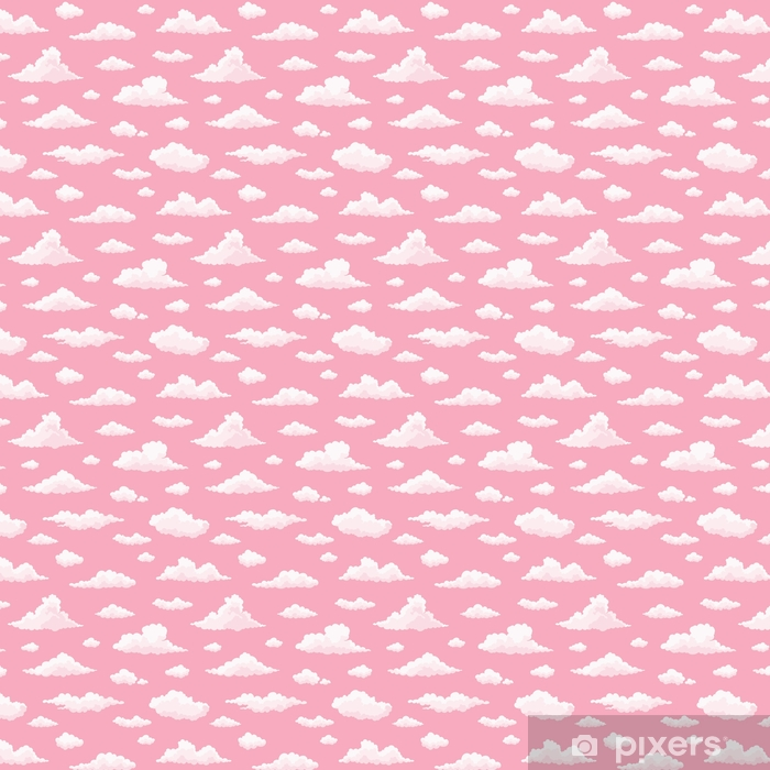 Cloud vector seamless pattern. White, pink clouds on pink sunset sky. Repeat print. Self-adhesive custom-made wallpaper - Graphic Resources