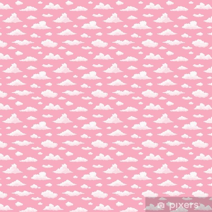 Chmura wektor wzór. białe, różowe chmury na różowym niebie słońca. powtórz wydruk.