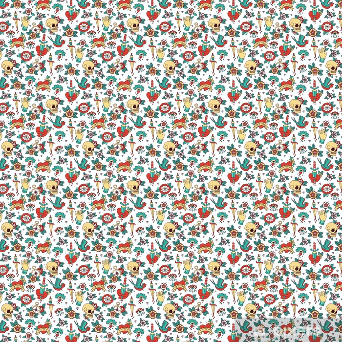 Seamless Doodle Pattern. Traditional Old School Tattoo. Vector background. Vinyl custom-made wallpaper - Graphic Resources