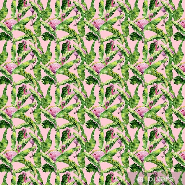 Papel de parede em vinil à sua medida Folhas tropicais, selva densa. Folhas de palmeira de banana, ilustração de aquarela sem costura de pássaros de flamingo rosa tropical. Padrão moderno com motivo de verão tropical. fundo exótico da arte de havaí. - Animais
