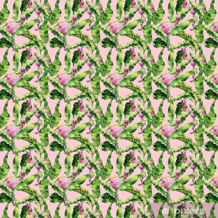 Tapeta winylowa Tropikalne liście, gęsta dżungla. palma bananowca pozostawia bez szwu akwarela ilustracja tropikalnych różowych ptaków flamingo. modny wzór z motywem tropic summertime. egzotyczne tło sztuki Hawajów. - Zwierzęta