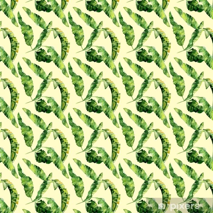 Tapeta na wymiar winylowa Bezszwowych akwareli ilustracji tropikalnych liści, gęste dżungli. Wzór z motywem lato tropików może być używany jako tekstura tła, papier pakowy, tekstylia, projekt tapety. Liści palmowych bananów - Rośliny i kwiaty