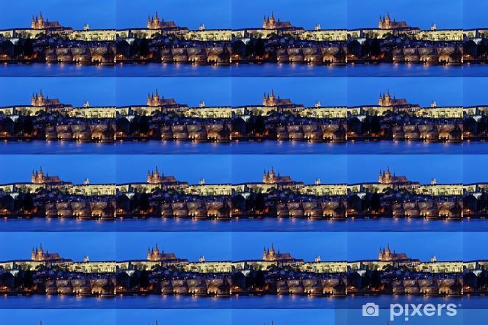 Tapeta na wymiar winylowa Praga, Most Karola i Zamek Praski Hradczany nocą - Miasta europejskie
