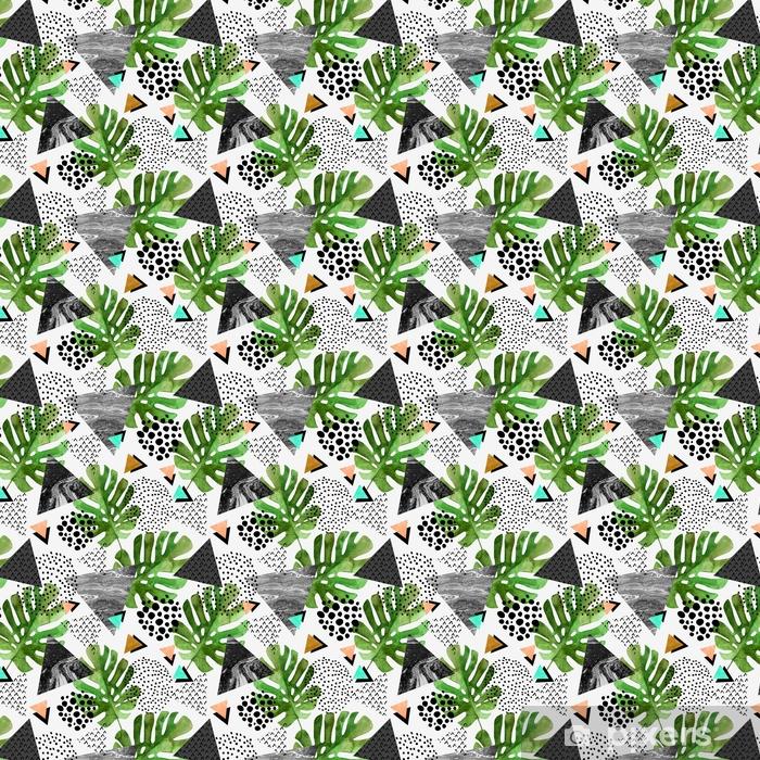 Zelfklevend behang, op maat gemaakt Aquarel tropische bladeren en gestructureerde driehoekjes achtergrond - Grafische Bronnen