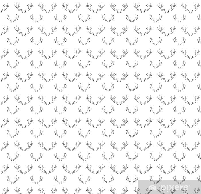 Zelfklevend behang, op maat gemaakt Naadloze patroon met hand getrokken herten hoorns. bosjacht - Dieren