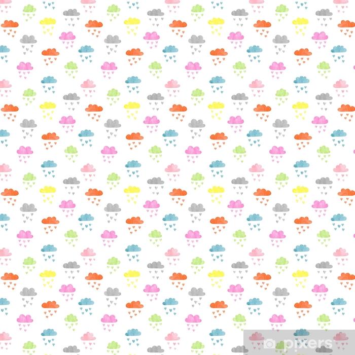 Bezszwowe kolorowy wzór akwarela chmury. deszcz serc. ilustracji wektorowych.