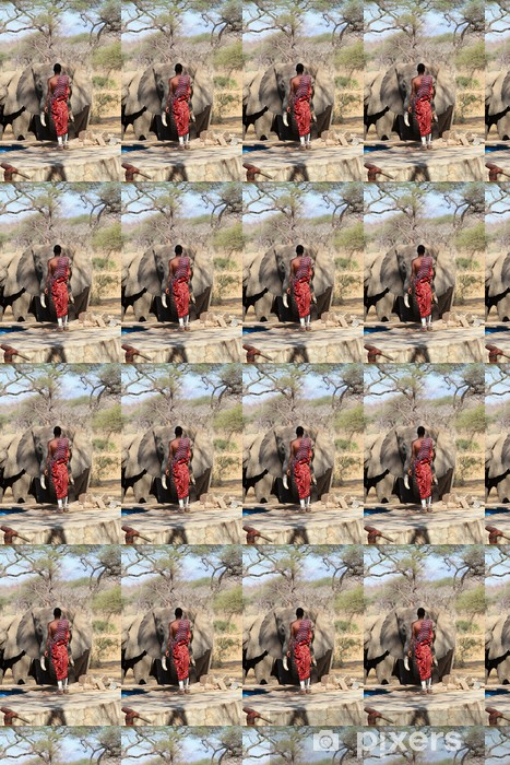 Vinyltapete nach Maß Masai Wache und wilde Elefanten. - Afrika