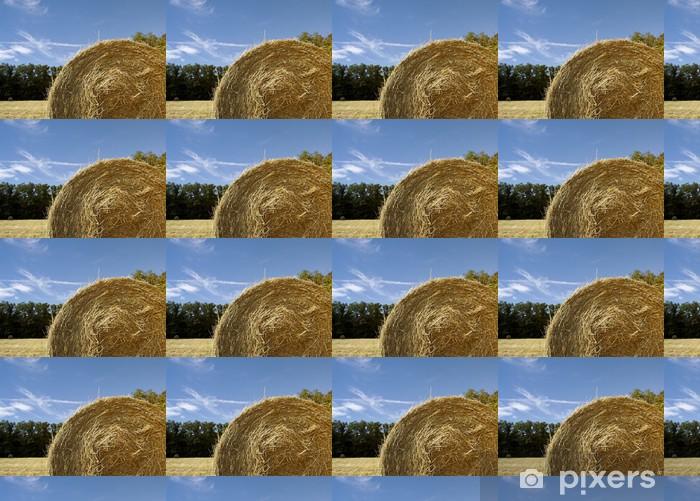 Papier peint vinyle sur mesure Balle de foin et le ciel - Agriculture