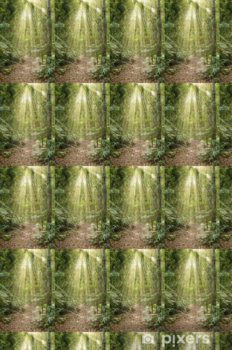 great image of the beauty of the rainforest with rays of light Vinyl custom-made wallpaper - Trees