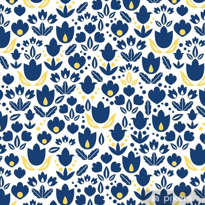 Tapete Vector Dunkelblaue Marine Und Gelbe Tulpen Blumen Nahtlose