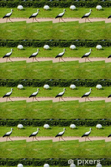 Carta da parati in vinile su misura Una cicogna nel parco - Uccelli