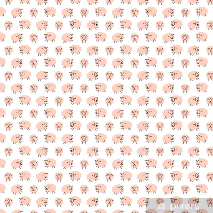 Tapeta na wymiar winylowa Słodkie owce dziewczęcy dziecko bez szwu wektor wzór. miękki różowy zwierzęcy projekt dla przewijać koc i odzież tkanina. - Zasoby graficzne