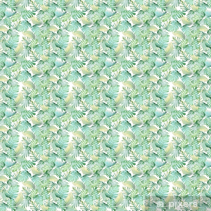 Tropical leaves seamless pattern of Monstera philodendron and palm leaves in light green-yellow color tone, tropical background. Vinyl custom-made wallpaper - Graphic Resources