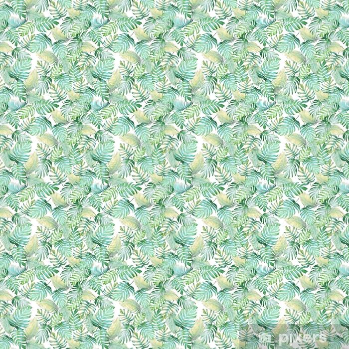 Zelfklevend behang, op maat gemaakt Tropische bladeren naadloze patroon van monstera philodendron en palm bladeren in licht groen-gele kleurtoon, tropische achtergrond. - Grafische Bronnen