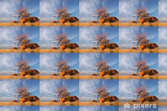 Tapeta na wymiar winylowa Granitowych głazów, drzew i błękitne niebo, Namibia - Cuda natury