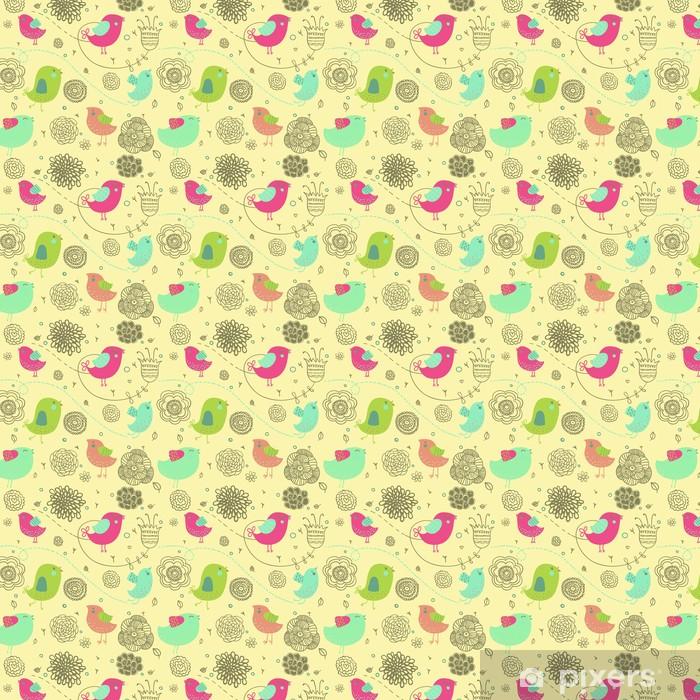 Tapeta na wymiar winylowa Ładne tło wiosna - ptaki kreskówek w kwiaty - Style