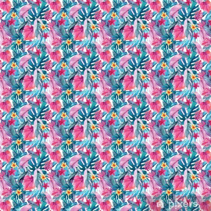 Papier peint à motifs vinyle Aquarelle feuilles exotiques et fond de fleurs. - Plantes et fleurs