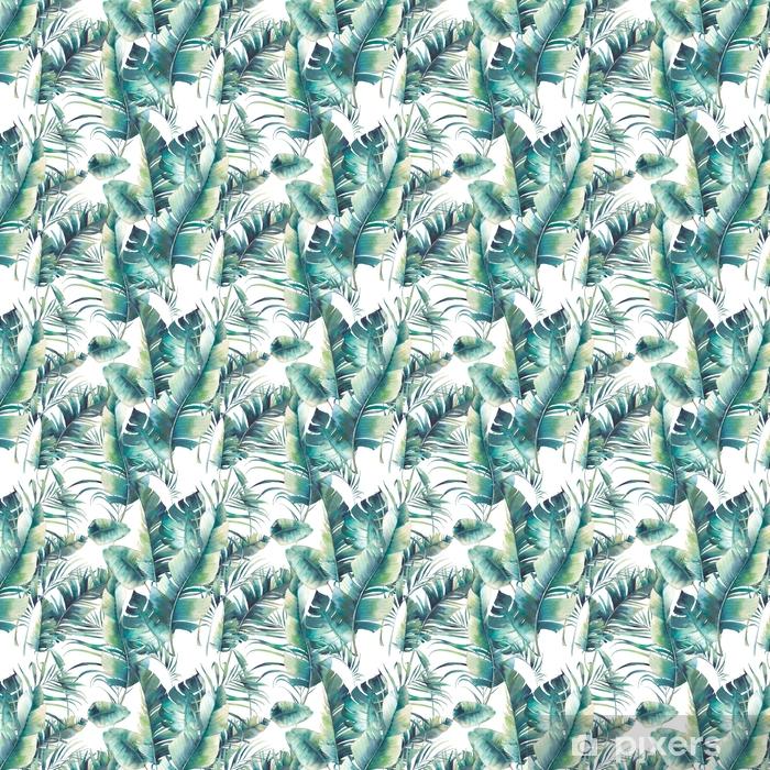 Özel Boyutlu Vinil Duvar Kağıdı Yaz palmiyesi ağacı ve muz dikişsiz desen yaprakları. beyaz zemin üzerine yeşil dalları olan suluboya dokusu. elle çizilmiş tropikal duvar kağıdı tasarımı - Çiçek ve bitkiler