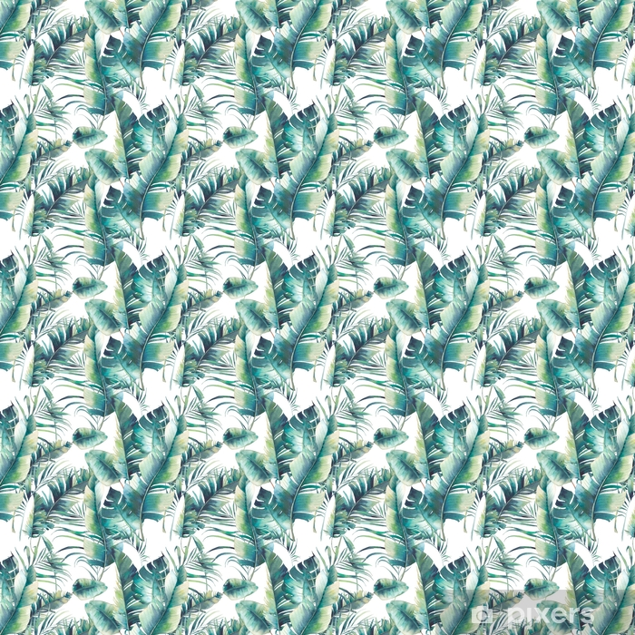 Vinylová Tapeta Letní palmový list a banánové listy bezproblémové vzorek. textura akvarelu se zelenými větvemi na bílém pozadí. ručně kreslené tropické tapety design - Rostliny a květiny