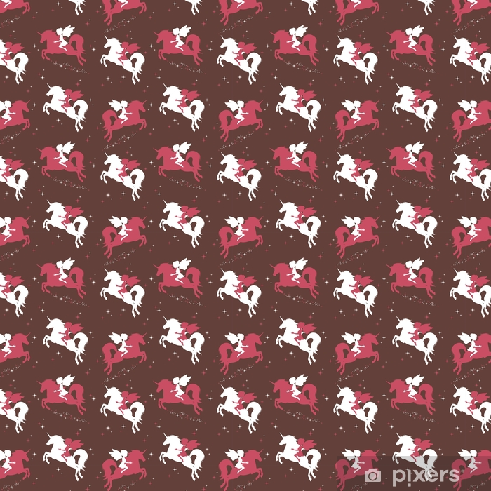 Seamless pattern with silhouette of beautiful unicorn and fairy on dark background. Vector illustration. Vinyl custom-made wallpaper - Animals