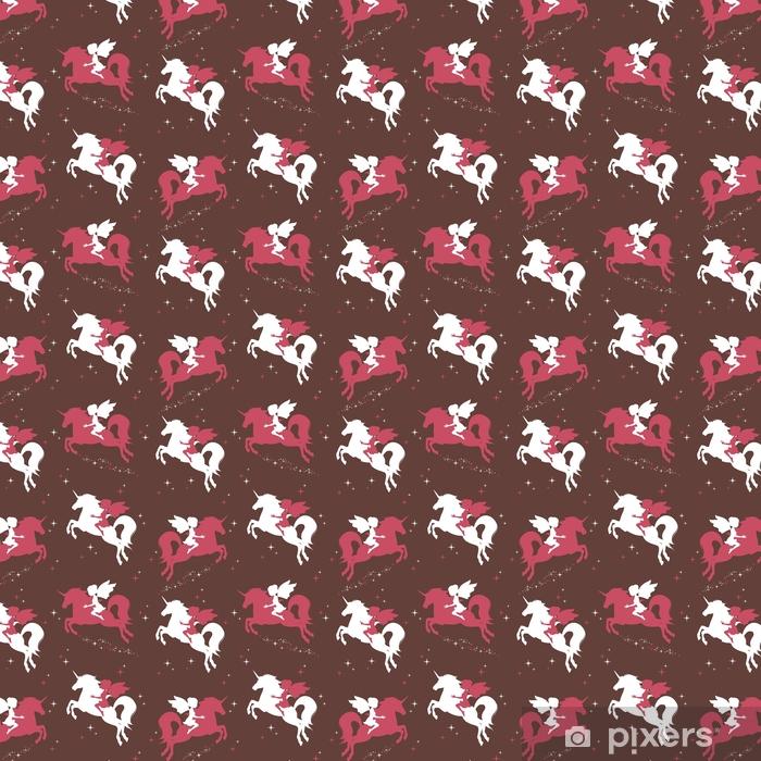 Zelfklevend behang, op maat gemaakt Naadloos patroon met silhouet van mooie eenhoorn en fee op donkere achtergrond. vectorillustratie - Dieren