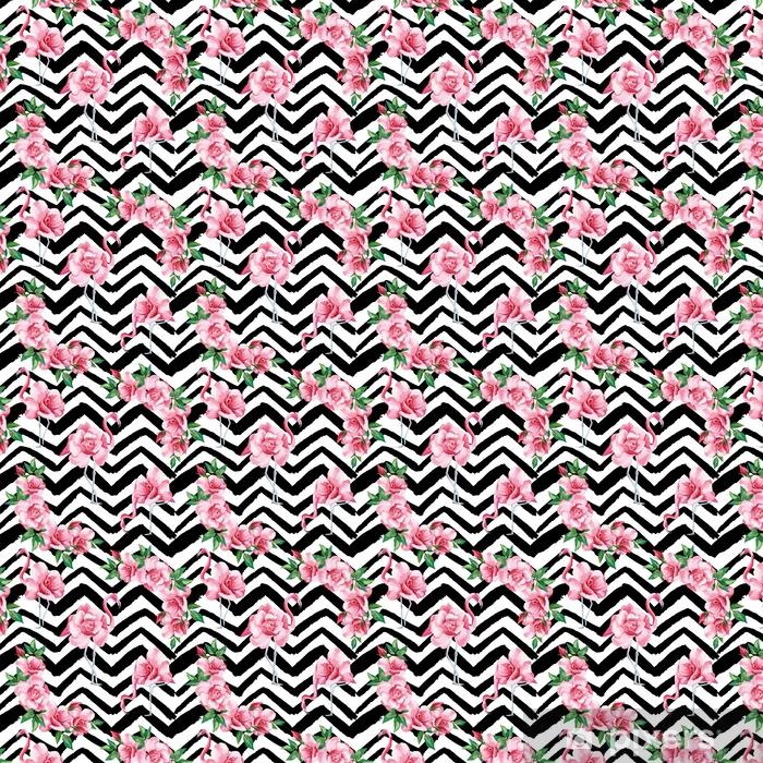 Flamingo Roses Seamless Pattern Black White Zigzag Background Wallpaper Vinyl Custom Made