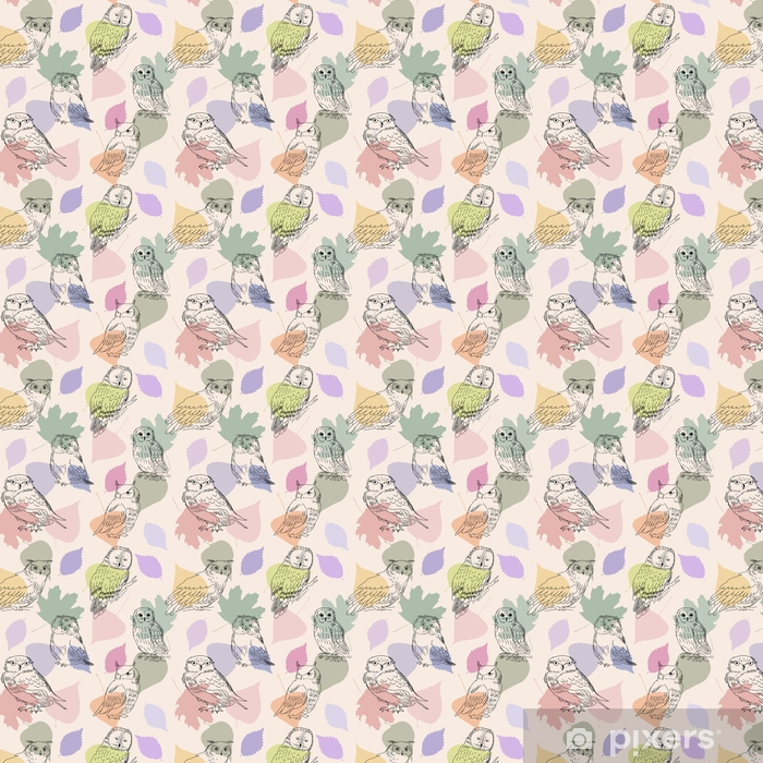 Abstract seamless pattern with cute owls and leaves Self-adhesive custom-made wallpaper - Animals