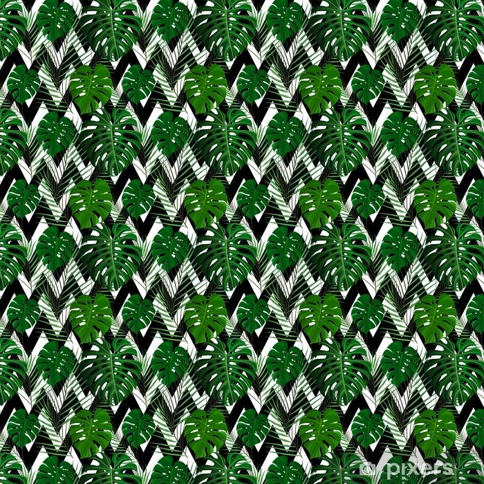 Tropisk sømløs mønster med eksotiske palmeblader