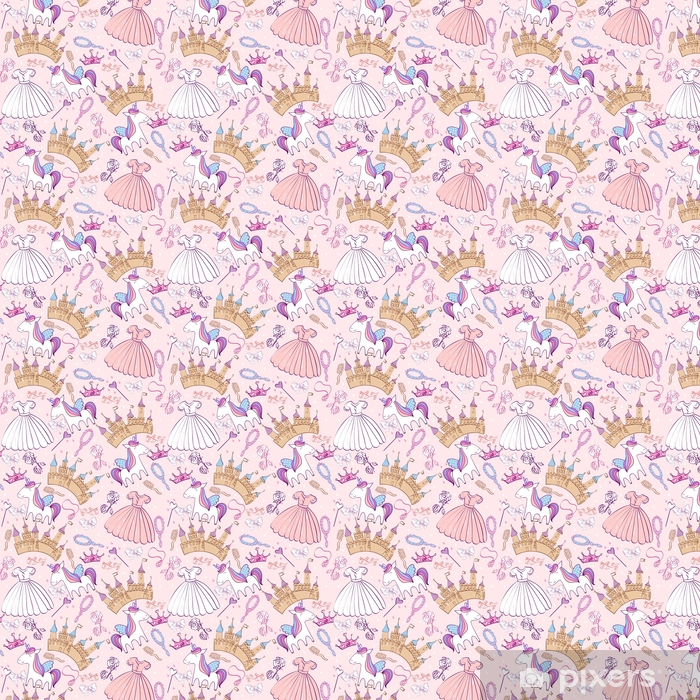 Magic cute unicorn with castle. Vector seamless pattern Vinyl custom-made wallpaper - Animals