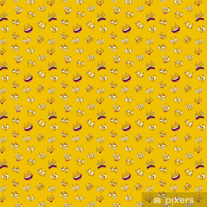 Tapeta na wymiar winylowa Wzór z śmieszne twarze komiks na żółtym tle. - Hobby i rozrywka