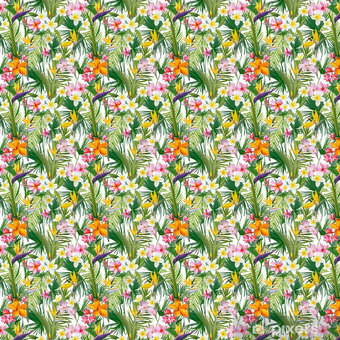 Tropical Palm Leaves and Flowers, Jungle Leaves Seamless Vector Floral Pattern Background Self-adhesive custom-made wallpaper - Plants and Flowers