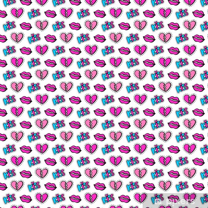 Vinyltapete nach Maß Lippen, Herzen und Kuss patches nahtlose Muster - Grafische Elemente
