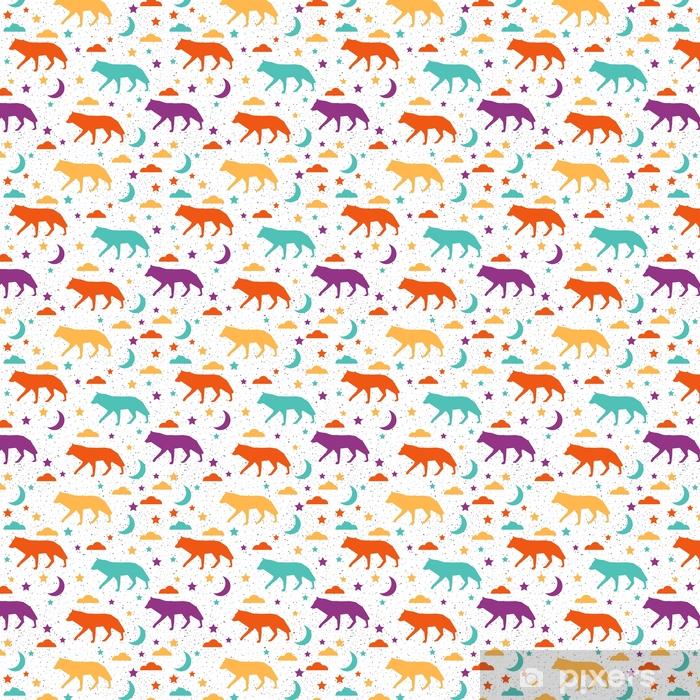 Wolf Seamless Pattern Background Abstract Purple Yellow Green