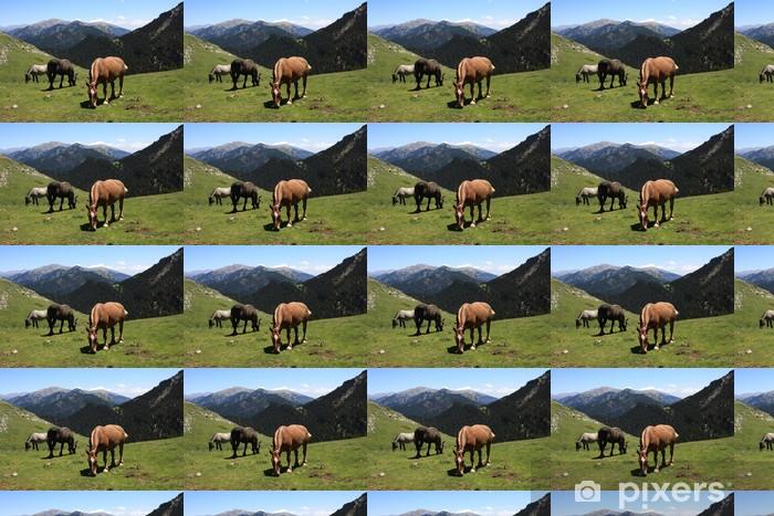 wild horses grazing in Pyrenees Vinyl custom-made wallpaper - Mammals