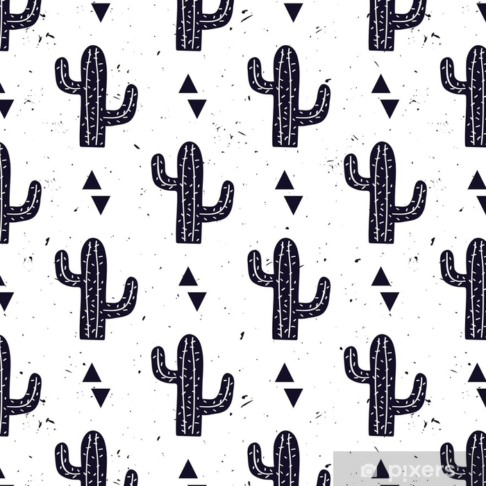 Tapeta winylowa Wektor czarno-biały wzór z kaktusów i trójkątów. nowoczesny design na modę, druk, plakat, wizytówkę, tekstylia. styl skandynawski. - Zasoby graficzne