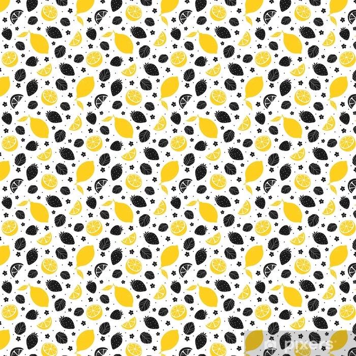 Vinyltapete nach Maß Nahtloses Muster der Erdbeere und der Zitrone in den gelben und schwarzen Farben. Vektor-Illustration - Essen