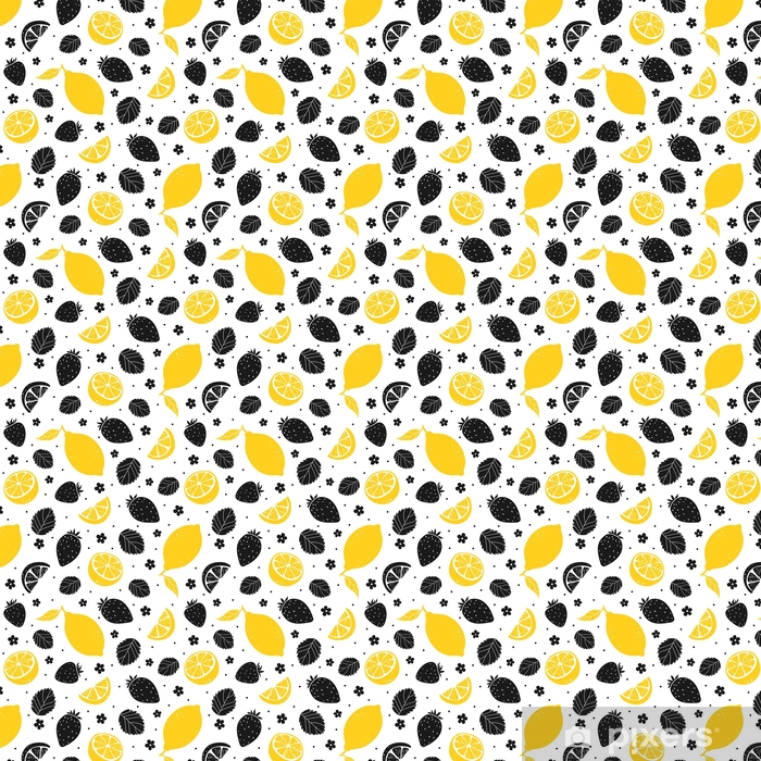 Mansikka ja sitruuna saumaton malli keltaisia ja mustia värejä. vektori kuva Räätälöity vinyylitapetti - Ruoka