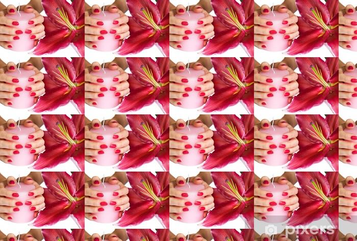 Papier peint vinyle sur mesure Mains avec du rose de manucure, une bougie et le lys - Beauté et soins du corps