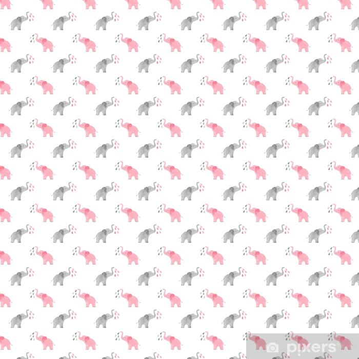 Tapeta na wymiar winylowa Akwarela ładny słonie wzór. wektor proste bezszwowe tło dla dzieci. - Zwierzęta