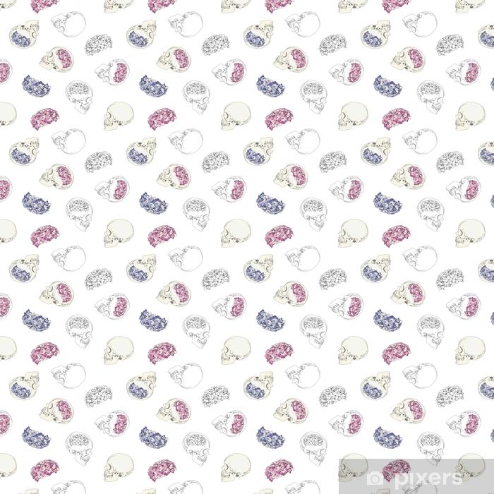 Vinyl behang, op maat gemaakt Vector naadloze patronen met vrouwelijke schedels en kleurrijke bloemen. hersenen in vorm van hydrangea hortensia en de hoofden van vrouwen op witte achtergrond worden geïsoleerd die - Mensen