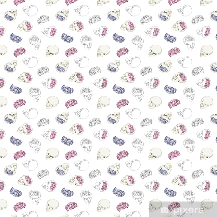 Vector seamless patterns with female skulls and colorful flowers. Brains in form of hydrangea and women's heads isolated on white background Vinyl custom-made wallpaper - People