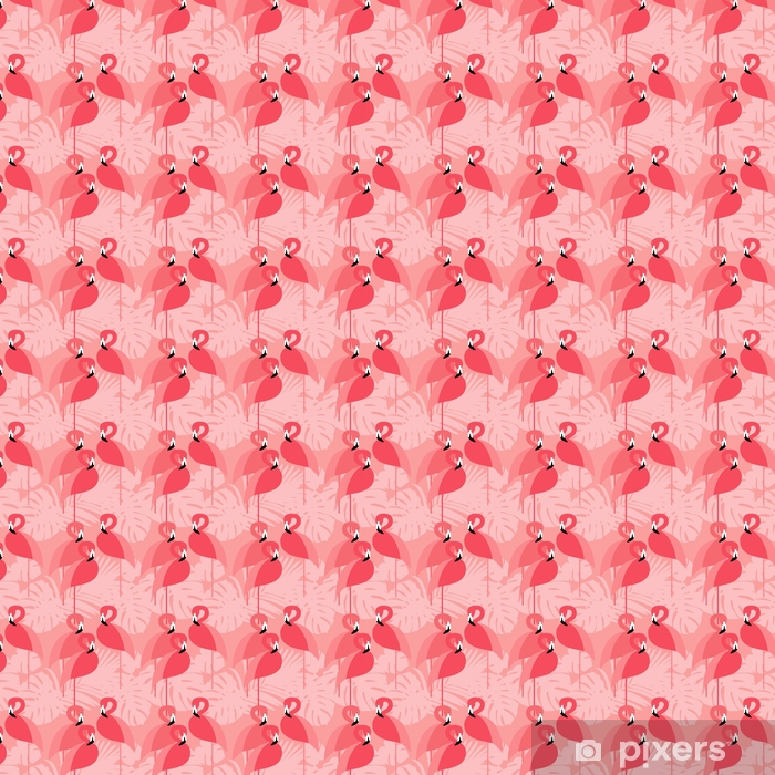 Seamless vector background. Pink Flamingo on a tropical background. Vinyl custom-made wallpaper - Graphic Resources