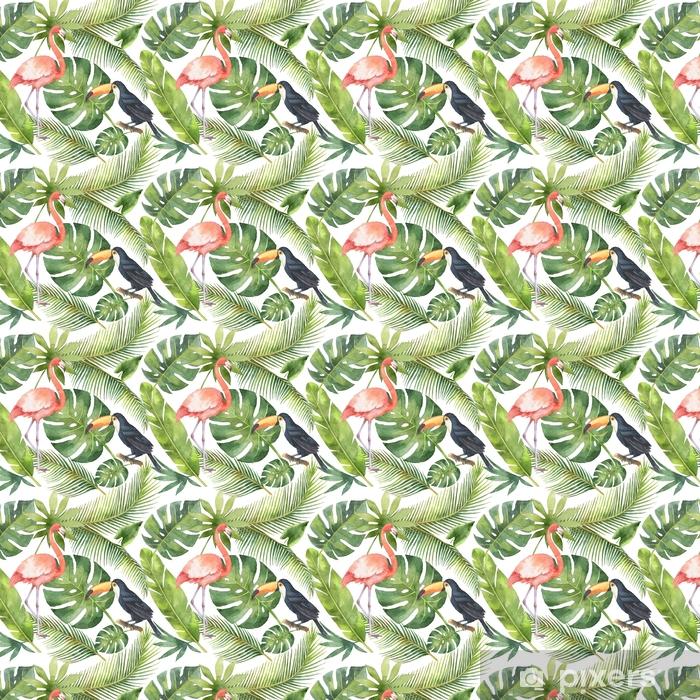 Papel pintado estándar a medida Acuarela de patrones sin fisuras de coco y palmeras aisladas sobre fondo blanco. - Plantas y flores