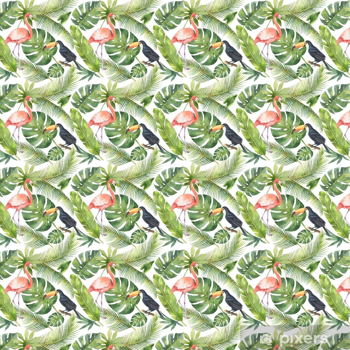 Watercolor seamless pattern of coconut and palm trees isolated on white background. Vinyl Custom-made Wallpaper - Plants and Flowers