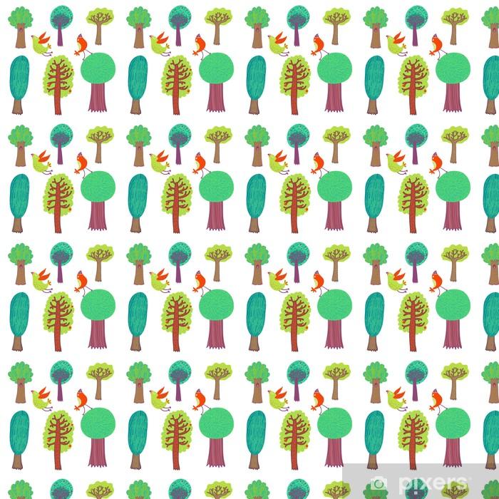 Papier peint vinyle sur mesure Dessin animé des arbres - Saisons