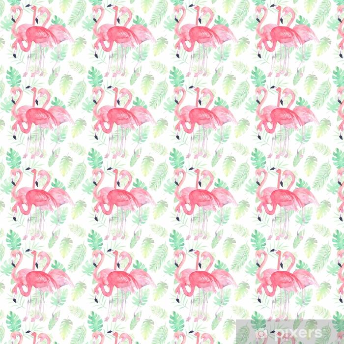 Akvarell sömlösa mönster med flamingo och tropiska löv